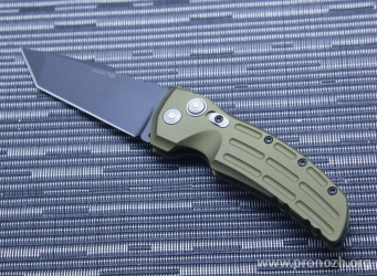 "Складной автоматический нож Hogue EX-01 3.5"" Tanto Auto, Black Blade, Green Aluminum Handle"