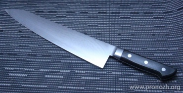 Нож кухонный поварской Maruyoshi Gyuto, VG-10 Core Forged with Nickel Damascus, Pakka Wood Handle