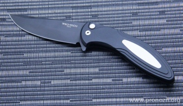 Складной нож Pro-Tech Cambria Flipper, DLC-Coated Blade, Black Aluminum Handle with Ivory Micarta Inlay
