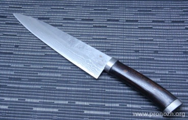 Нож кухонный поварской Maruyoshi Gyuto, Shirogami Core Forged with Nickel Damascus, Urushi Lacqueared Rosewood Handle