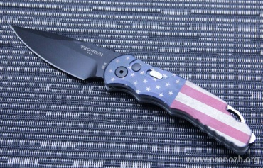 Складной автоматический нож Pro-Tech TR-5 USA Flag Auto, DLC-Coated Blade, Aluminum Handle