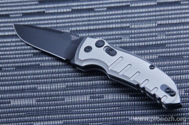 "Складной автоматический нож Hogue A01-Microswitch 2.75""  Drop Point, Black Blade, Grey  Aluminum Handle"