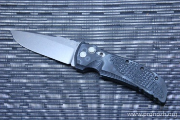 "Складной автоматический нож Hogue EX-01 4"" Drop Point  Auto, Stone-Tumbled  Blade, Black / Gray Mascus G10 Handle"