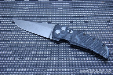 "Складной автоматический нож Hogue EX-01 3.5"" Drop Point Auto, Stone-Tumbled  Blade, Black / Gray G-Mascus G10 Handle"