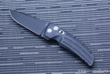 "Складной автоматический нож Hogue EX-01 3.5"" Drop Point  Auto, Black Blade, Black Aluminum Handle"